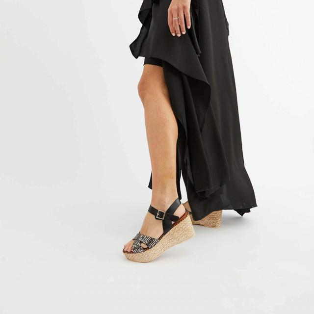 sandales compensées en cuir grainé et semelles en raphia - Marila